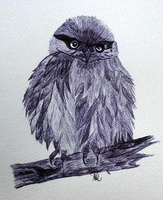 Waldkauz - Original von *zeitgenössische kunst von maria-mercedes* auf DaWanda.com