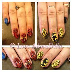 Spider-Man / Batman #nails #nail #fashion #style #TagsForLikes #cute #beauty #cool #instagood #pretty #girl #girls #stylish #sparkles #styles #gliter #nailart #art #nailart #photooftheday #spiderman #superheros #preto #batman #rosa #love #shiny #gelnails #gelpolish #nailswag #follow #followme #loveadorabella