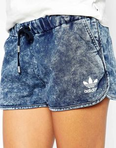 Sporty Outfits : Description Image 3 of Adidas Originals Denim Look Shorts looks.tn/… - All About Adidas Fashion, Sport Fashion, Teen Fashion, Fitness Fashion, Fashion Models, Fashion Trends, Sporty Outfits, Winter Outfits, Summer Outfits