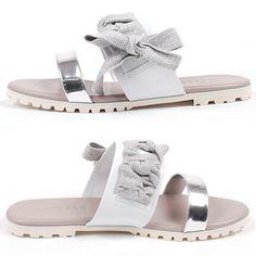 NEW Korea Womens Ribbon Fasfiin Sandals&Handmade Ladies leather shoes C-Silver #BomNaviHandmade #fasfiinslippers
