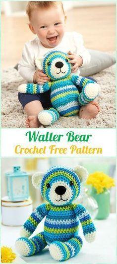 Amigurumi Crochet Walter Bear Free Pattern - Amigurumi Crochet Teddy Bear Toys Free Patterns #CrochetPatternsToys #crochetbear #crochettoys