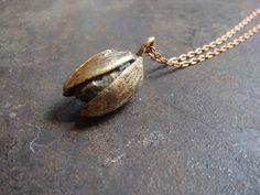 Solid Brass Pistachio Necklace