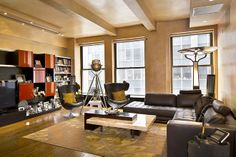 This bachelor pad in Midtown Manhattan is on the market for 2.9 million dollars. It comes with high-def TVs, a surround sound system, a 94-inch projection screen and an electric fireplace. (Credit: John Nitzel)