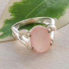 925 STERLING SILVER EXCLUSIVE PINK CHALSEDONY RING 6.62g DJR2244 S-9 #Handmade #Ring