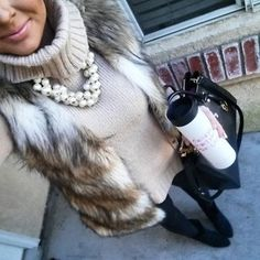 Faux fur vest, turtleneck and statement necklace. Perfect winter outfit!