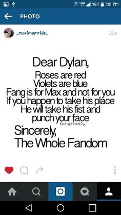 Dear dylan. I hate you