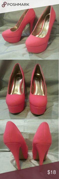Hot pink platform stilettos These were only wore once with the matching outfit in seperate listing. There is a small scratch on the top of the toe and a dent on the inside of the left one. They are so small they didn't show up in the pictures. Shoes Platforms