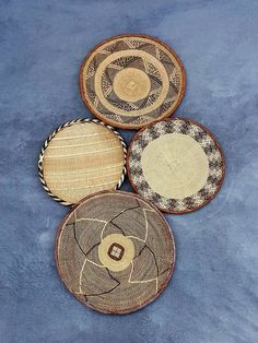 Lovely Set of 4 Handwoven Binga Baskets African Wall Decor Above Bed Decor, T Set, Baskets On Wall, One Pic, Unique Gifts, Hand Weaving, Handmade Items, African, Wall Decor