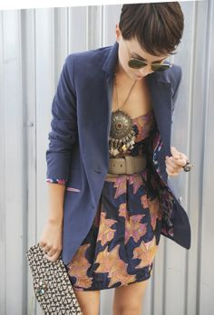 Short dress with blazer, coupled with pretty accessories.