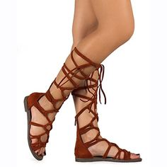 671675fa1a4bdc Breckelle s DG23 Women Suede Knotted Peep Toe Lace Up Wrap Gladiator Flat  Sandal