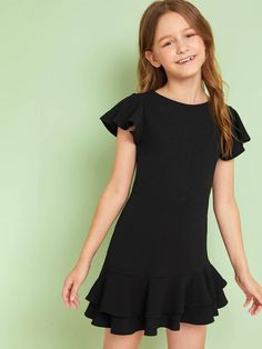 To find out about the Girls Ruffle Layered Solid Dress at SHEIN, part of our latest Girls Dresses ready to shop online today! Wedding Dresses For Girls, Cute Girl Outfits, Kids Outfits Girls, Cute Casual Outfits, Little Girl Dresses, Dresses For Teens, Girls Dresses, Girls Fashion Clothes, Kids Fashion