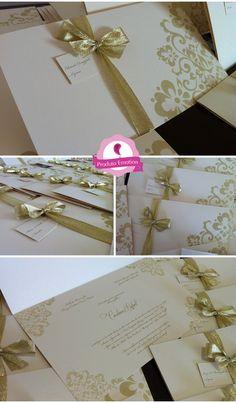 Identidade Visual Carolina e Rafael – Convite dourado | Gold invitation