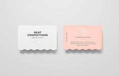 Logo and die cut and silver foil business cards designed by Anagrama for Mexican brand Neat Confections