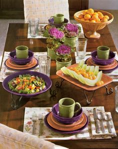 2005 Wish List pottery photo -- love the combination of pottery colors pumpkin, eggplant and sage.