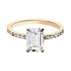 Engagement Ring Melbourne in 18-carat rose gold with one emerald cut diamond and 12 side brilliants