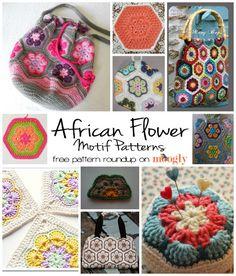 Free African Flower Motif Patterns - a roundup on Moogly!  #crochet motif