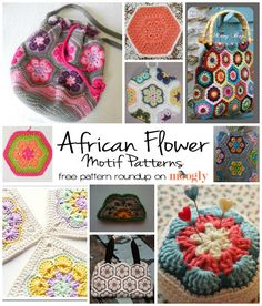 Free African Flower Motif Patterns - a roundup on Moogly!  #crochet motif