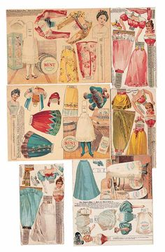 American Advertising Paper Dolls for Pillsbury Flour {} Stick-body paper dolls {} Russian and Japanese in vignette setting featuring Pillsbury flour sacks {} Circa 1910 Victorian Paper Dolls, Vintage Paper Dolls, Antique Dolls, Paper Art, Paper Crafts, Paper People, Origami, Art Dolls, Dolls Dolls