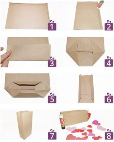 Photo guide for a sweetie gift bag Diy Paper Bag, Paper Purse, Paper Bags, Diy Bag Gift, Gift Bags, Diy Arts And Crafts, Paper Crafts, Diy Papier, Paper Packaging