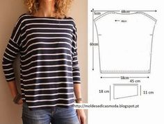 Fashion Templates  EASY SWEATER - 1... To start.. Cut two rectangles of fabric with the height and width you want.