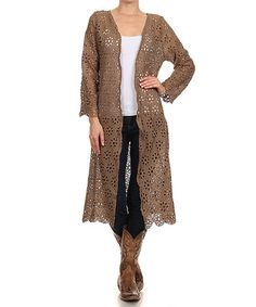 $39.99 Love this Mocha Crochet Duster - Women & Plus on #zulily! #zulilyfinds
