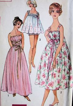 1960s LOVELY NIGHTGOWN, BABY DOLL PAJAMAS PATTERN SIMPLICITY 3023