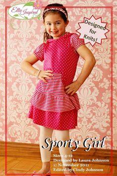 Knit Hoodie Dress Pattern - Girl Dress Pattern - PDF Sporty Girl pattern Size 4 - Size 12