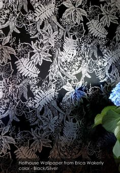 Hothouse wallpaper from Erica Wakerly in Black/Silver