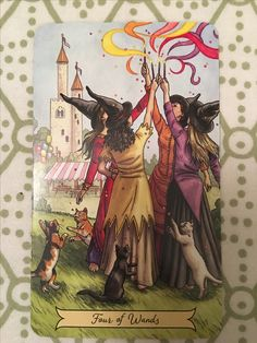 Four of Wands - Everyday Witch Tarot Pentacle, Witch Coven, Pagan Witch, Wiccan, Ange Demon, Vintage Witch, Witch Art, Halloween Art, Tarot Decks