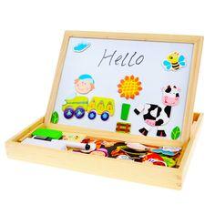 BOHS Multifunzionale Giocattoli Di Legno Educativi di Puzzle Magnetico Farm Jungle Animal Bambini Bambini Puzzle Bambino Disegno Bordo Cavalletto