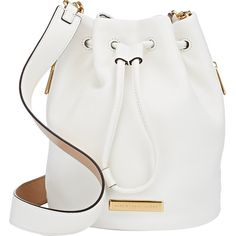Marc by Marc Jacobs Luna Bucket Bag (€350) ❤ liked on Polyvore featuring bags, handbags, shoulder bags, purses, bolsas, accessories, white, white leather shoulder bag, white leather purse and white shoulder bag
