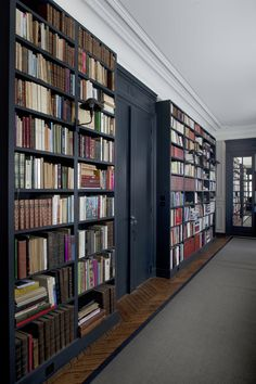 Gorgeous bookshelves painted in Farrow & Ball 'Railings' No. Farrow Ball, Farrow And Ball Paint, Elephants Breath, Black Bookcase, Black Shelves, Bookcase Wall, Flur Design, Library Wall, Book Lovers