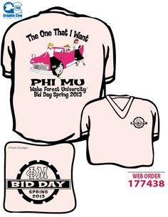 Grease style Phi Mu bid day