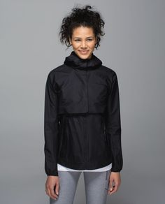 Release Date: 4/2015. Original Price: $178. Color: black. Why we made this We designed this lightweight, transformable jacket so we could hit the trails running, rain or shine. We wear it as a jacket when we need to hold on to heat, and tuck the jacket into the back pocket of the vest when core warmth is the name of the game. Layer up, let's go!Key features light wind- and water-resistant Flight fabric helps keep your core warm and dry tuck the removable jacket into the back pocket and let Raincoats For Women, Outerwear Women, Cute Jackets, Jackets For Women, Lululemon Athletica, Hooded Raincoat, Athletic Outfits, Athletic Gear