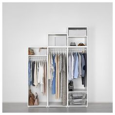 IKEA PLATSA wardrobe Fits perfectly under a sloping ceiling or a staircase. Recycled Door, Frame Shelf, Ikea Family, Modular Storage, Clothes Rail, Knobs And Handles, Wardrobe Design, Affordable Furniture, Interior Accessories