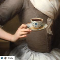 #Repost @sibev A detail taken from our Portrait of the Artist's Daughter, Offering a Cup of Coffee 'Eine Kaffee Schenkerinn' by Balthasar Denner (1685-1749) #oilpainting #portrait #coffee #daughter #denner #18thcentury #regram