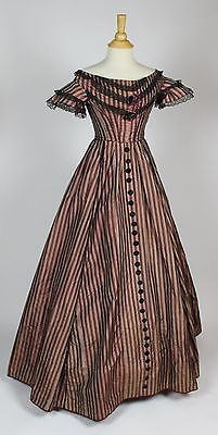 Blue Cream and Brown Striped Silk and Velvet Evening Gown C 1860 | eBay
