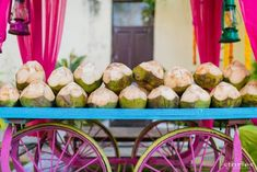 Coconut water stand at your summer wedding - great idea to keep your guests comfortable and cool! Mehndi Decor, Mehendi Decor Ideas, Indian Wedding Food, Indian Wedding Decorations, Wedding Ceremony Decorations, India Wedding, Wedding Tables, Pool Wedding, Garden Wedding