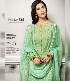Gul Ahmed Premium Embroidered Chiffon Festive Collection 2015 PM-75