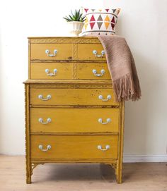 Mustard Yellow Tall Boy Dresser Painted With Milk Paint
