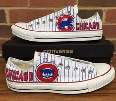 custom hand-painted Chicago Cubs Converse by MyUniqueSneaks