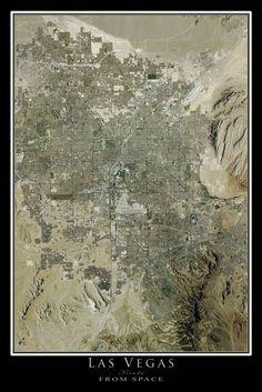 Las Vegas Nevada Satellite Poster Map