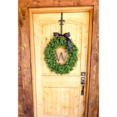 Monogram Boxwood Wreath-Large Boxwood Wreath-Spring Door Wreath-Winter... ($125) ❤ liked on Polyvore featuring home, home decor, home fragrance, home & living, home décor, ornaments & accents, yellow, grapevine wreaths, winter door wreaths and winter wreaths