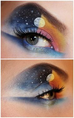 "Eye makeup art creation by Sandra Holmbom entitled, ""Night to Day."" What is Makeup ? Creative Eye Makeup, Eye Makeup Art, Eye Art, Makeup Inspo, Eyeshadow Makeup, Makeup Inspiration, Beauty Makeup, Makeup Eyes, Eyeshadow Palette"