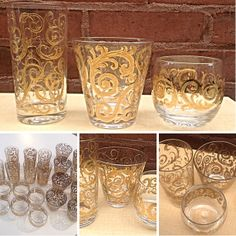 21 Piece Set of #Vintage #MidCentury #BarGlasses by #Culver. Feature #22KaratGold vine detail. Great for entertaining with swank and style! Please click link below for pricing and details.  | Rocket Century  - St. Louis, MO