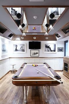A man cave must-have: light up pool table #mancave #gamesroom