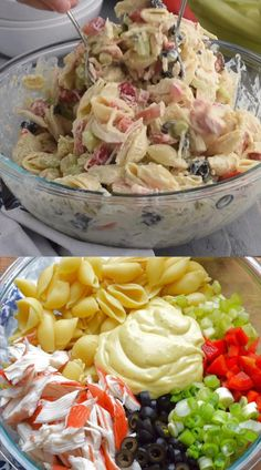 This Crab Pasta Salad is a family recipe, one of my favorites! Packed with veggies and delicious flavor, it's a staple at summer BBQs! Crab Pasta Salad, Easy Macaroni Salad, Classic Macaroni Salad, Bacon Ranch Pasta Salad, Best Pasta Salad, Easy Pasta Salad Recipe, Summer Pasta Salad, Chicken Salad Recipes, Seafood Recipes