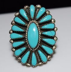 Large-Sterling-Silver-ZUNI-Indian-Turquoise-Petit-Point-Cluster-Ring-Size-9-1-2