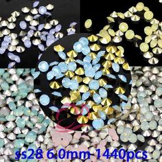 Glitter Pointback Resin DIY Rhinestones ss28 6.0mm 1440pcs 6 Colors Round Beads For Jewelry Making Nail Art Supplies Decorations