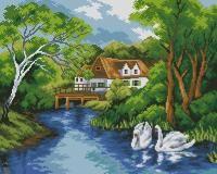 Пейзаж с лебедями